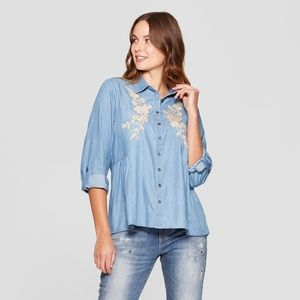 Long-Sleeve Embroidered Denim Long Sleeve Blouse